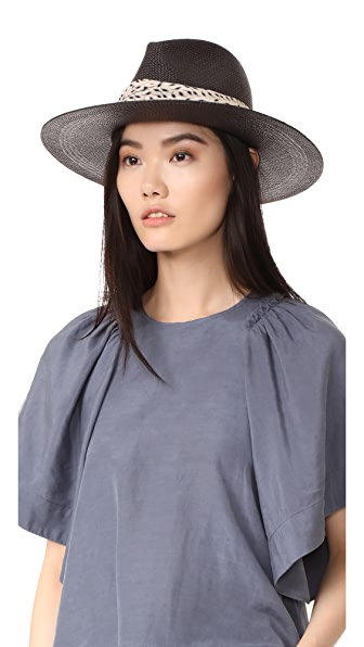 Janessa Leone Josephine Short Brimmed Panama Hat - Black
