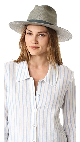 Janessa Leone Marion Short Brimmed Panama Hat - Silver Sage