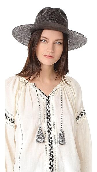 Janessa Leone Joanna Short Brimmed Panama Hat In Black