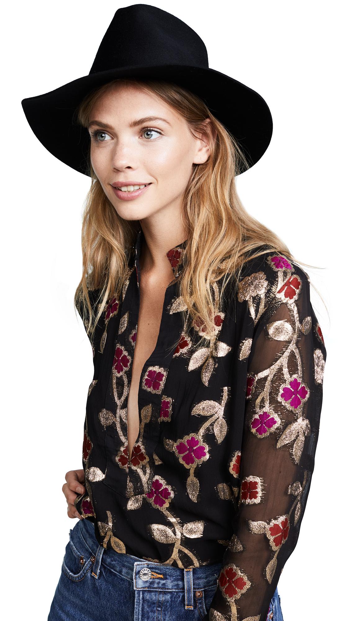 Janessa Leone Sean Fedora Hat - Black