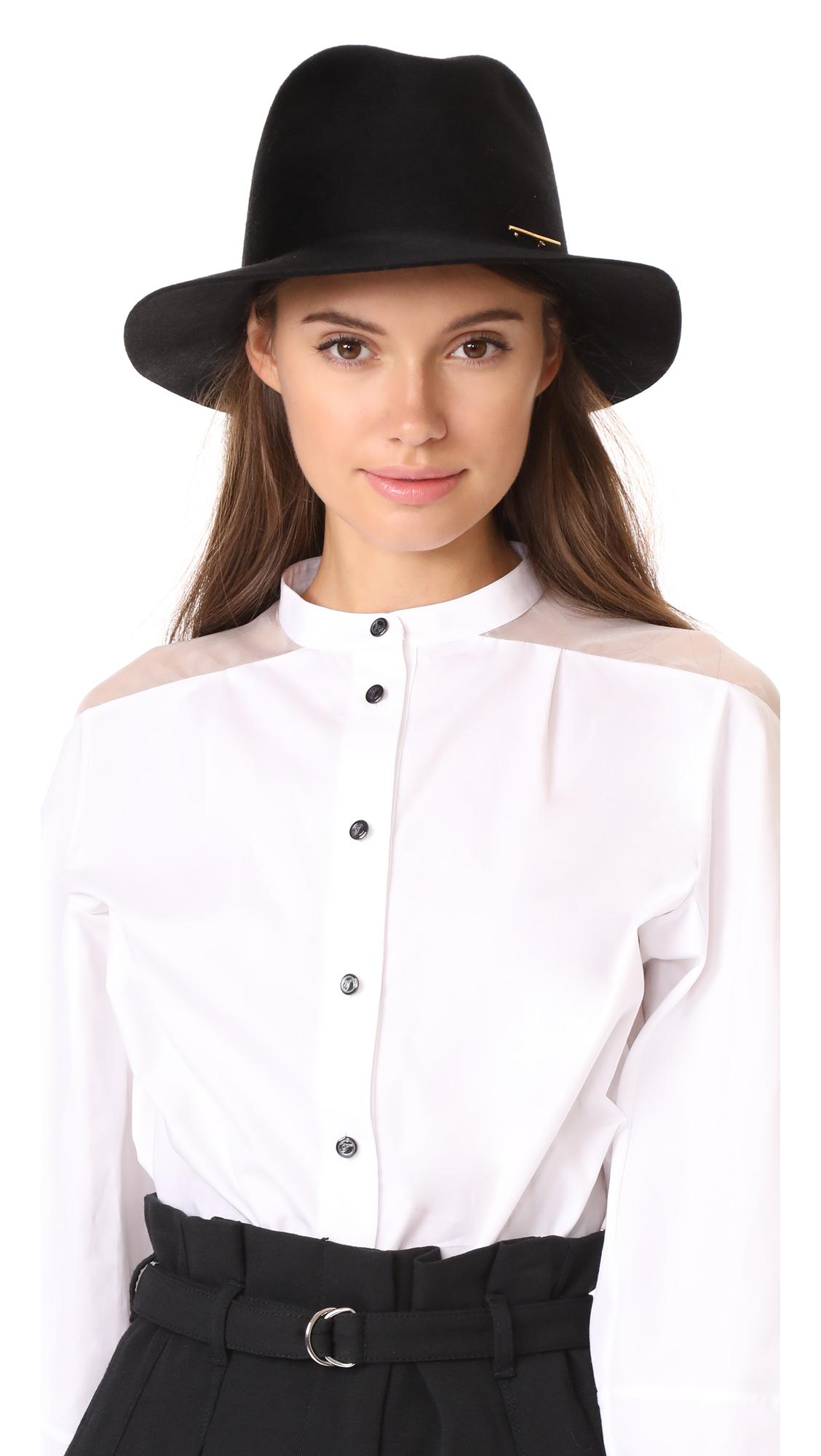 Janessa Leone Lane Fedora Hat - Black
