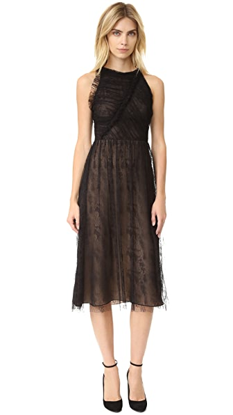 Jason Wu Abstract Houndstooth Lace Racer Back Dress - Black