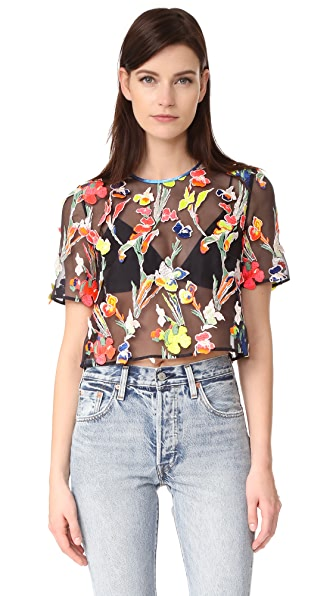 Jason Wu Floral Embroidered Top In Navy Multi