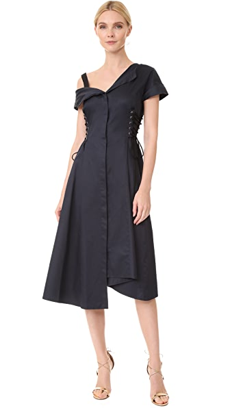 Jason Wu Asymmetrical Lace Up Dress