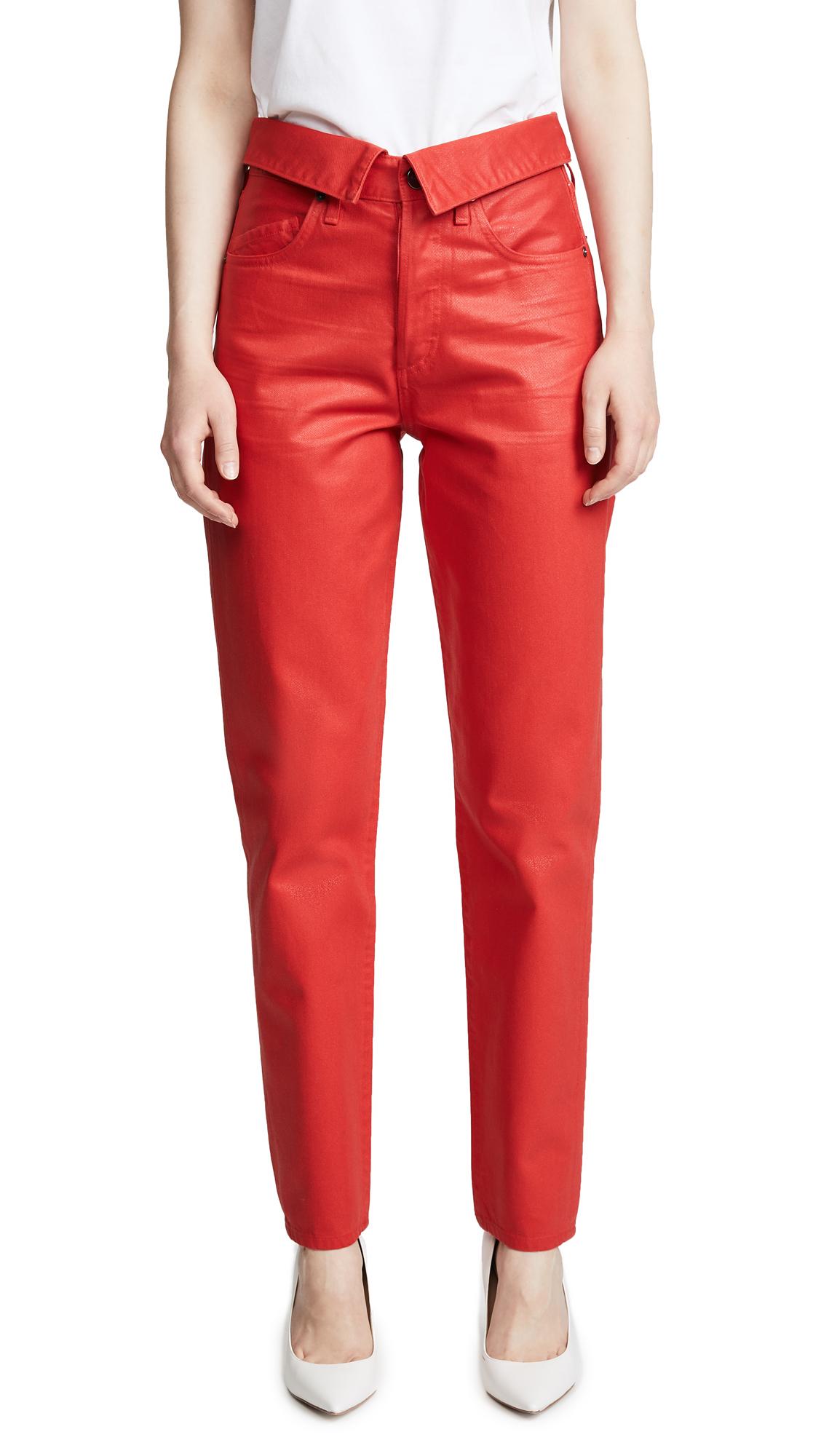 Jean Atelier Coated Flip Pants In Rouge