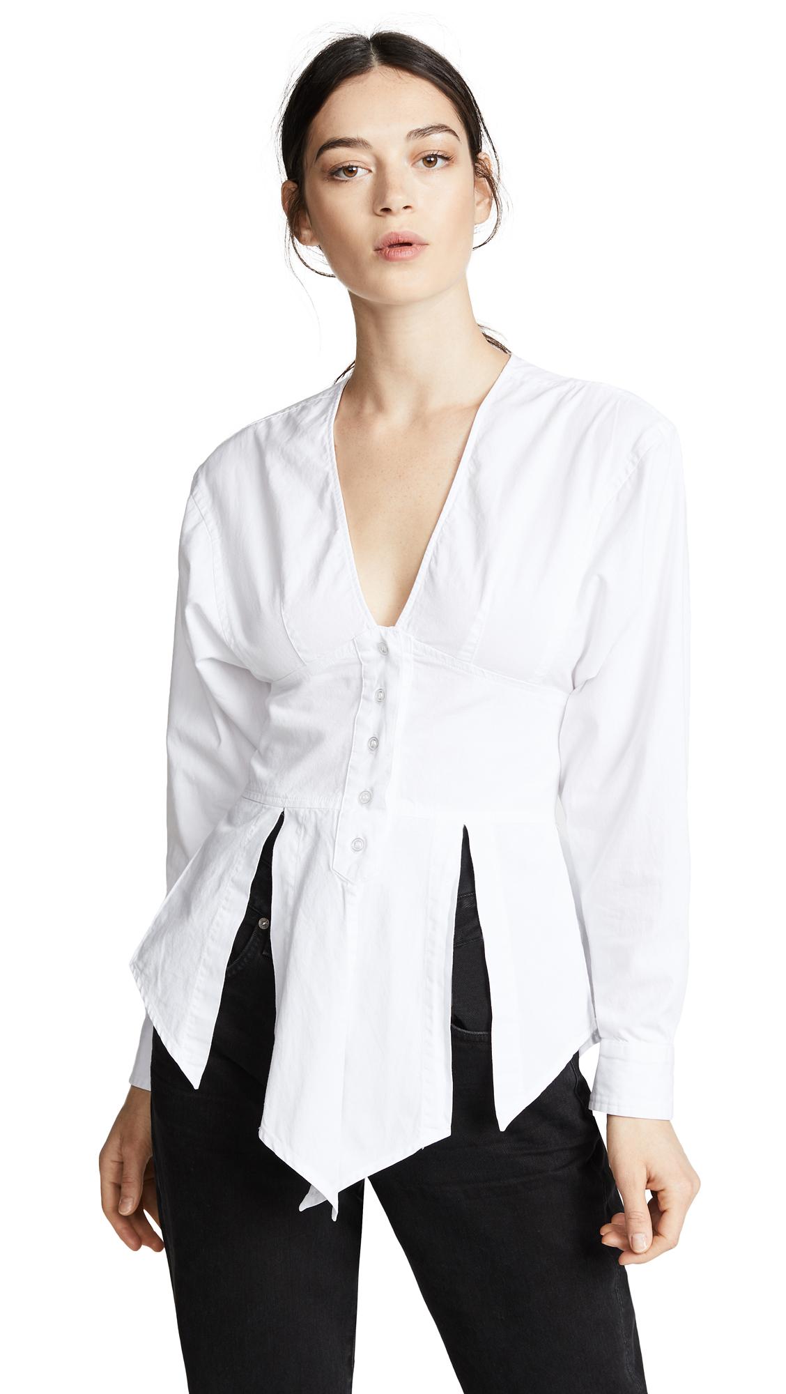 JEAN ATELIER Azura Cotton Twill Top - White Size 10