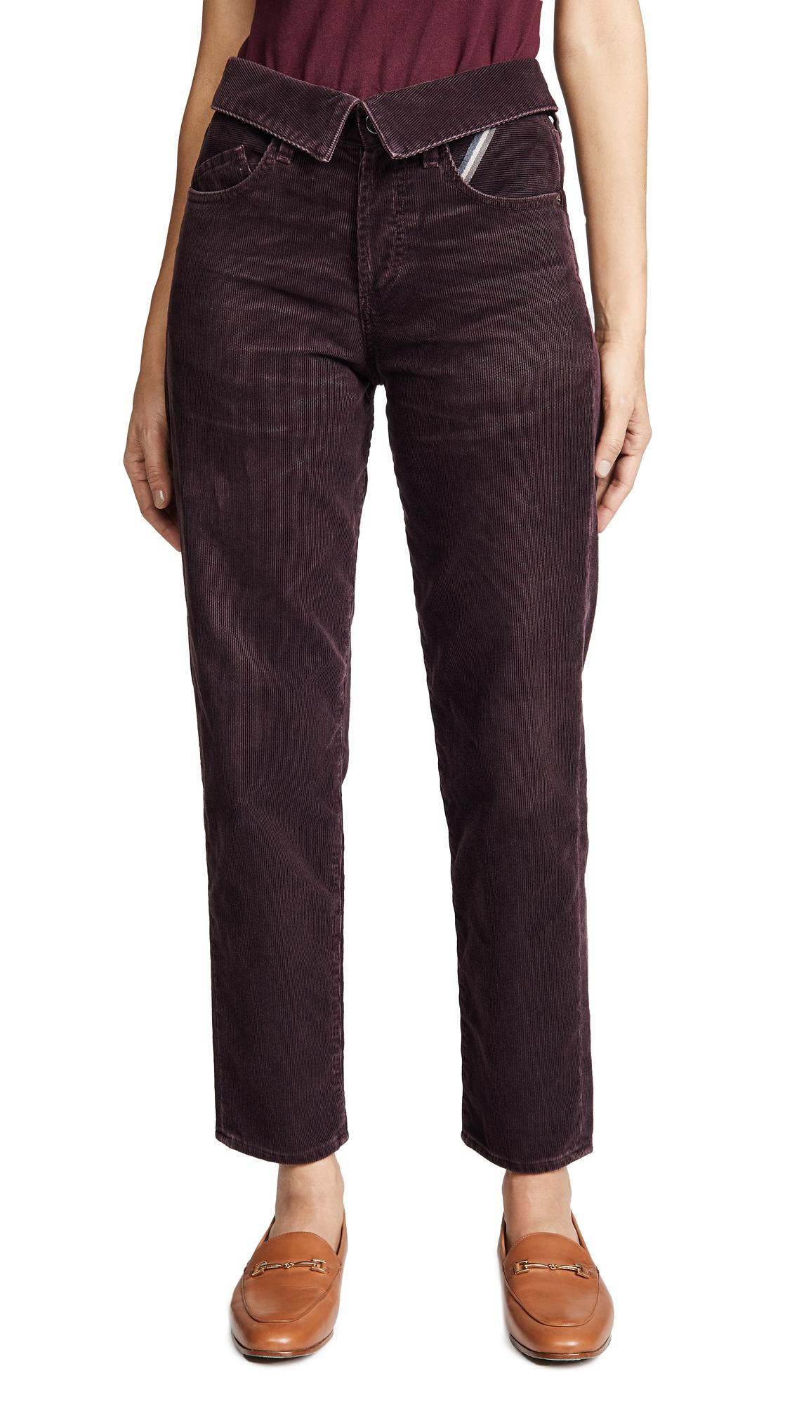 JEAN ATELIER Flip Fold-Over Corduroy Jeans in Plum