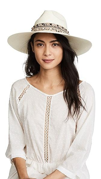 Jaunt The Paros Large Brim Panama Hat In Cream/Black