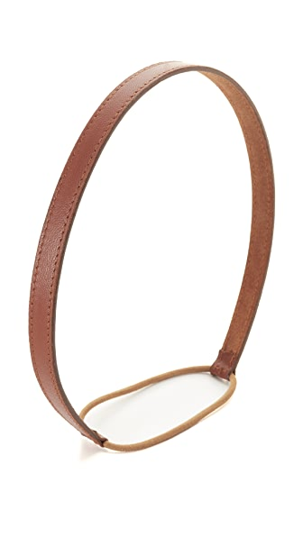 Jennifer Behr Thin Leather Headband - Cognac
