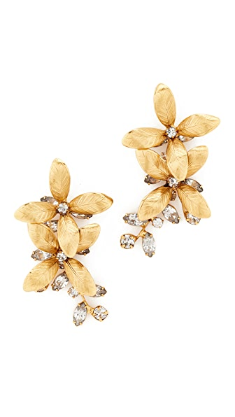 Jennifer Behr Floral Earrings In Gold