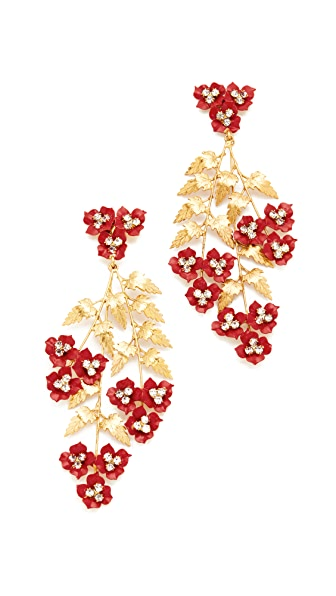 Jennifer Behr Aviva Chandelier Earrings - Gold/Crimson