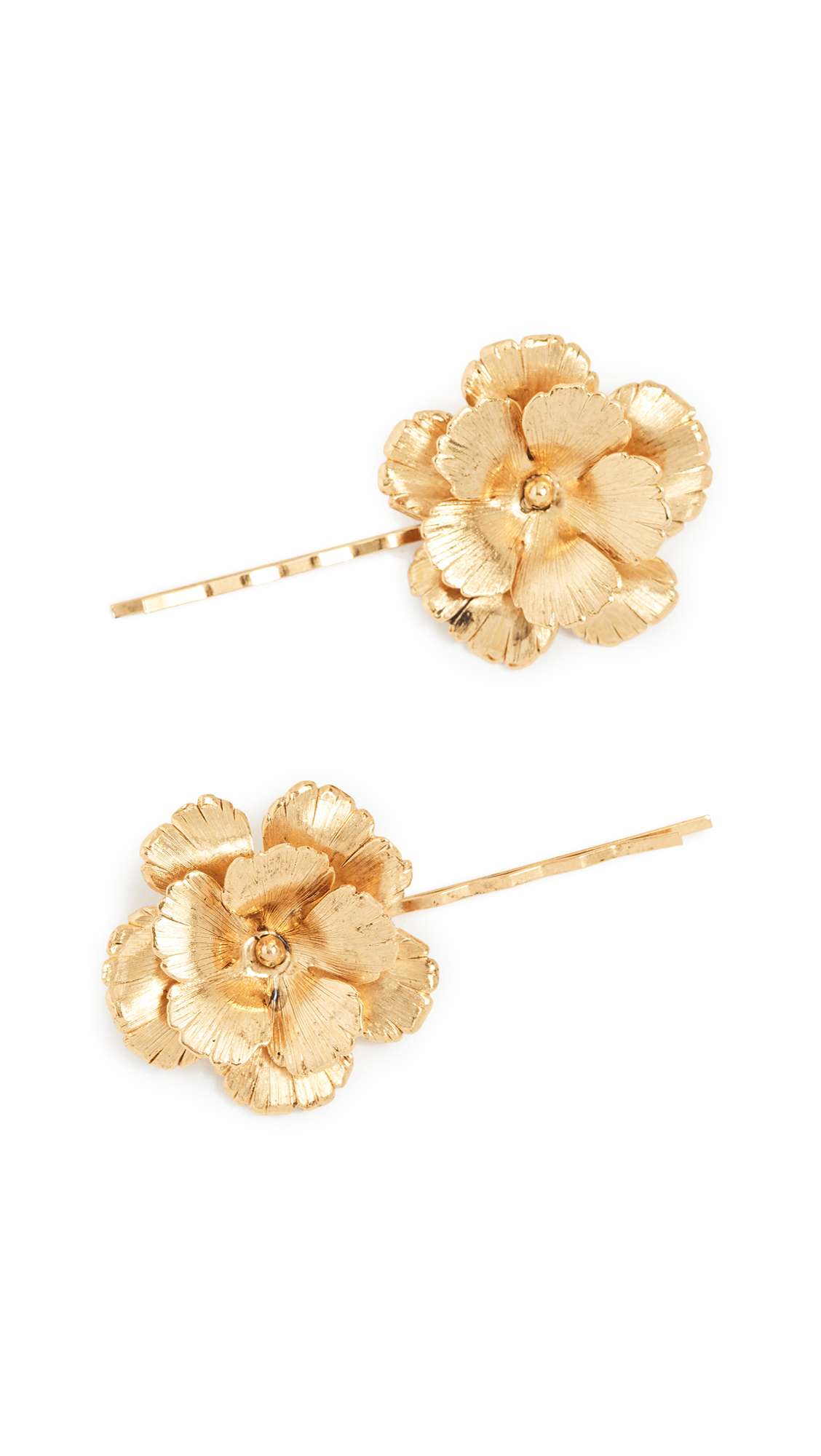 Poppy Floral Bobby Pins, Set Of 2, Yellow Gold