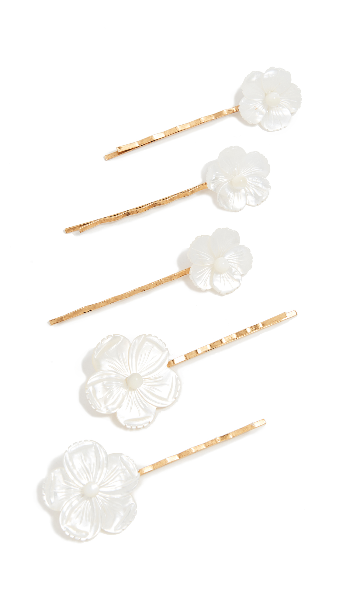 Set Of Five Gold-Tone Mother-Of-Pearl Hair Slides, Ivory/Gold
