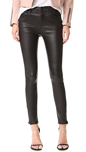 J Brand Maria High Rise Leather Pants - Black