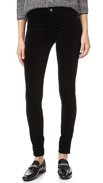 J Brand 815 Mid Rise Velvet Super Skinny Pants - Black