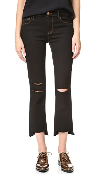 Mid Rise Straight Crop Jeans