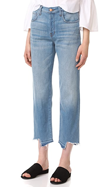 J Brand Ivy High Rise Crop Straight Jeans with Jagged Hem