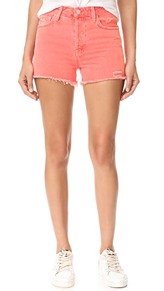 J Brand Gracie High Rise Shorts with Raw Hem - Glowing Blossom