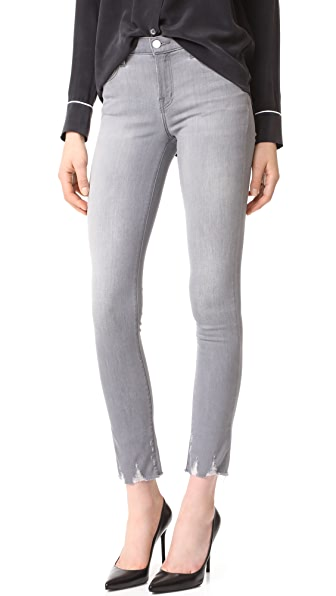 J Brand 811 Mid Rise Skinny Jeans with Raw Hem In Provocateur
