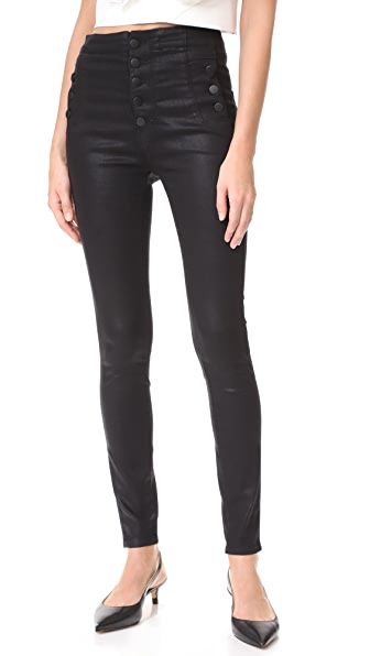 J Brand Natasha Sky High Coated Skinny Jeans - Fearless