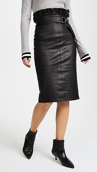 J Brand Claudia Leather Midi Skirt