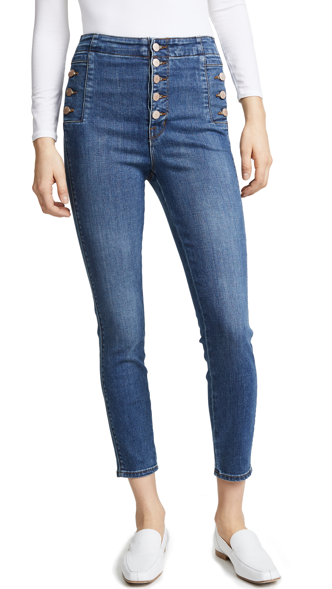 Natasha Sky High Skinny Crop Jeans In Lovesick in Blue