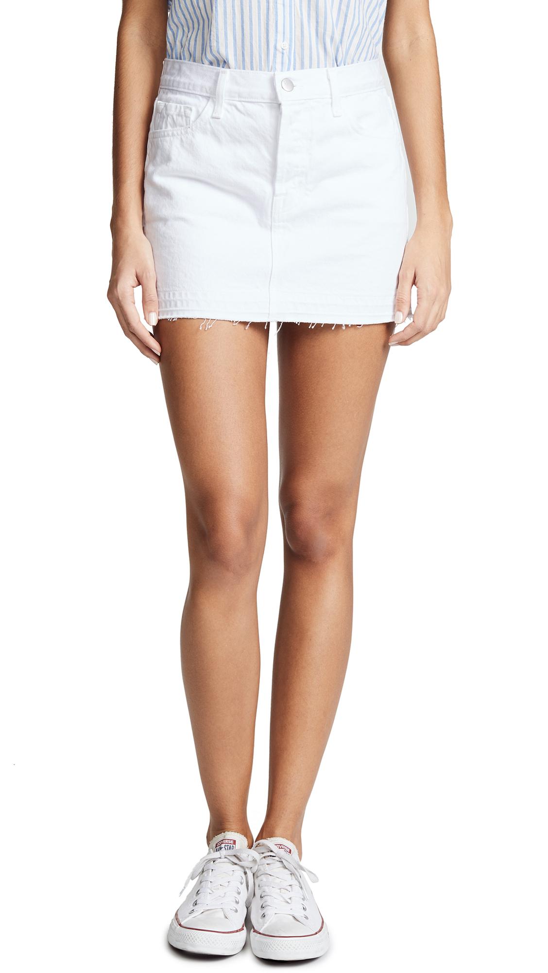 J Brand Bonny Mid Rise Miniskirt In White