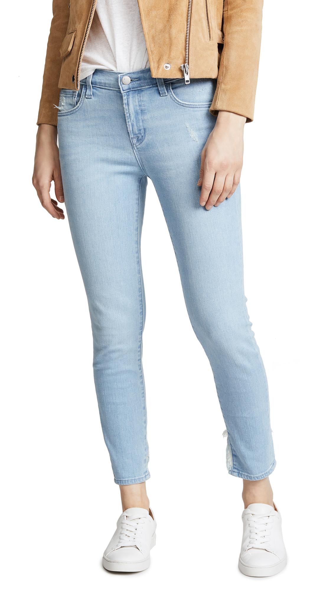 J Brand 835 Mid Rise Capri Jeans In Sky Destruct