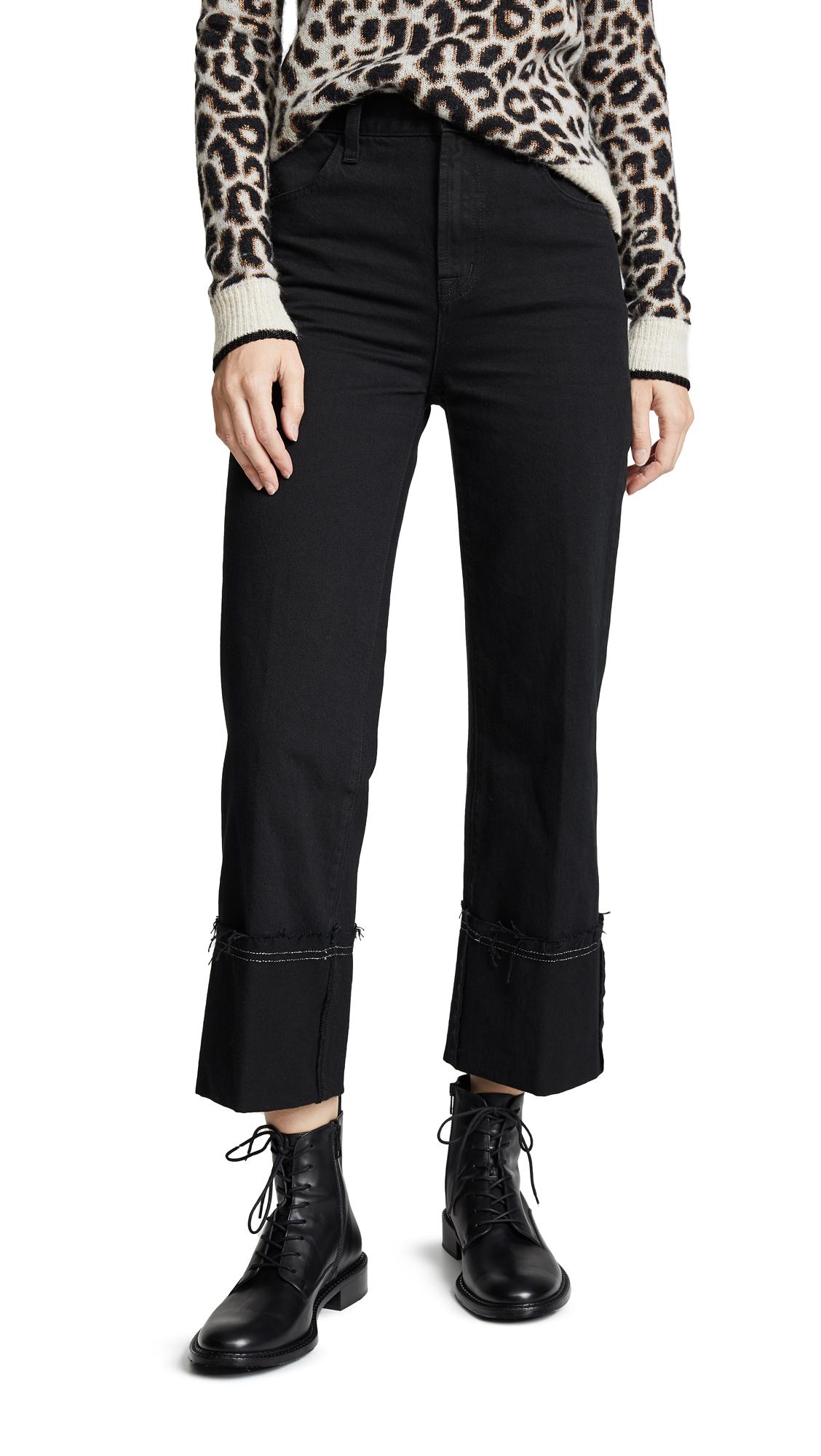 Joan Cuffed High Waist Crop Flare Jeans, Hematite
