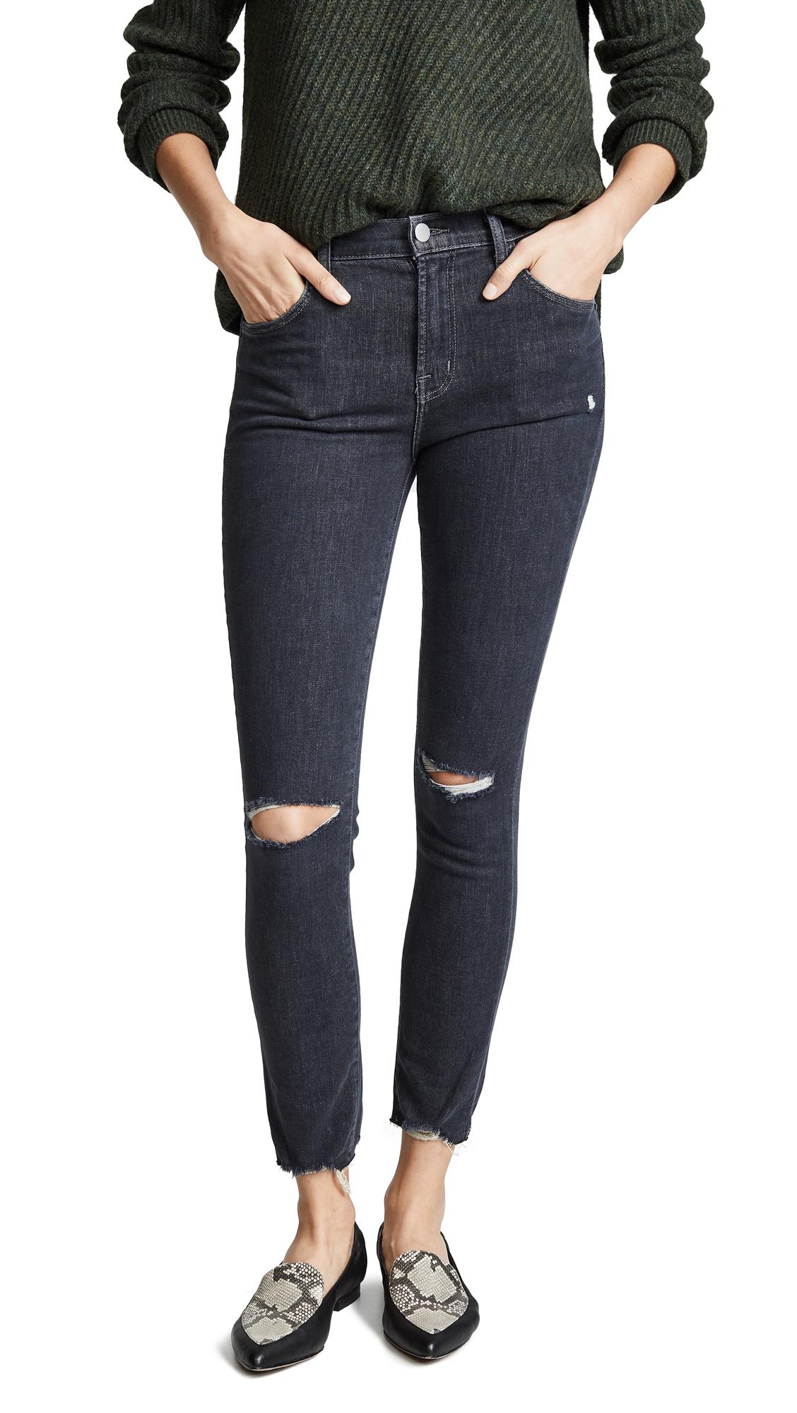 J Brand Alana High Rise Crop Skinny Jeans In Ashes Destruct