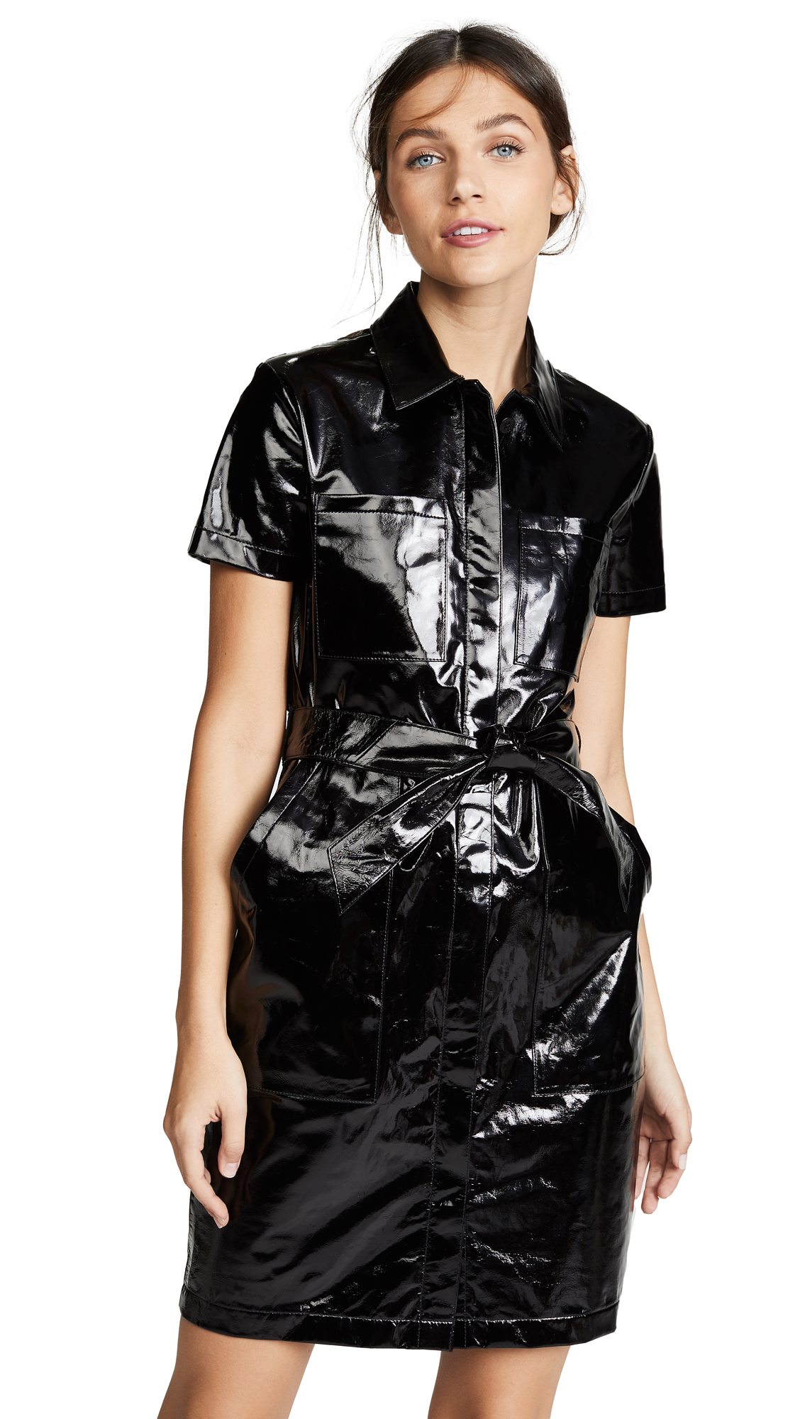 J Brand Lucille Leather Shirtdress - Patent Black
