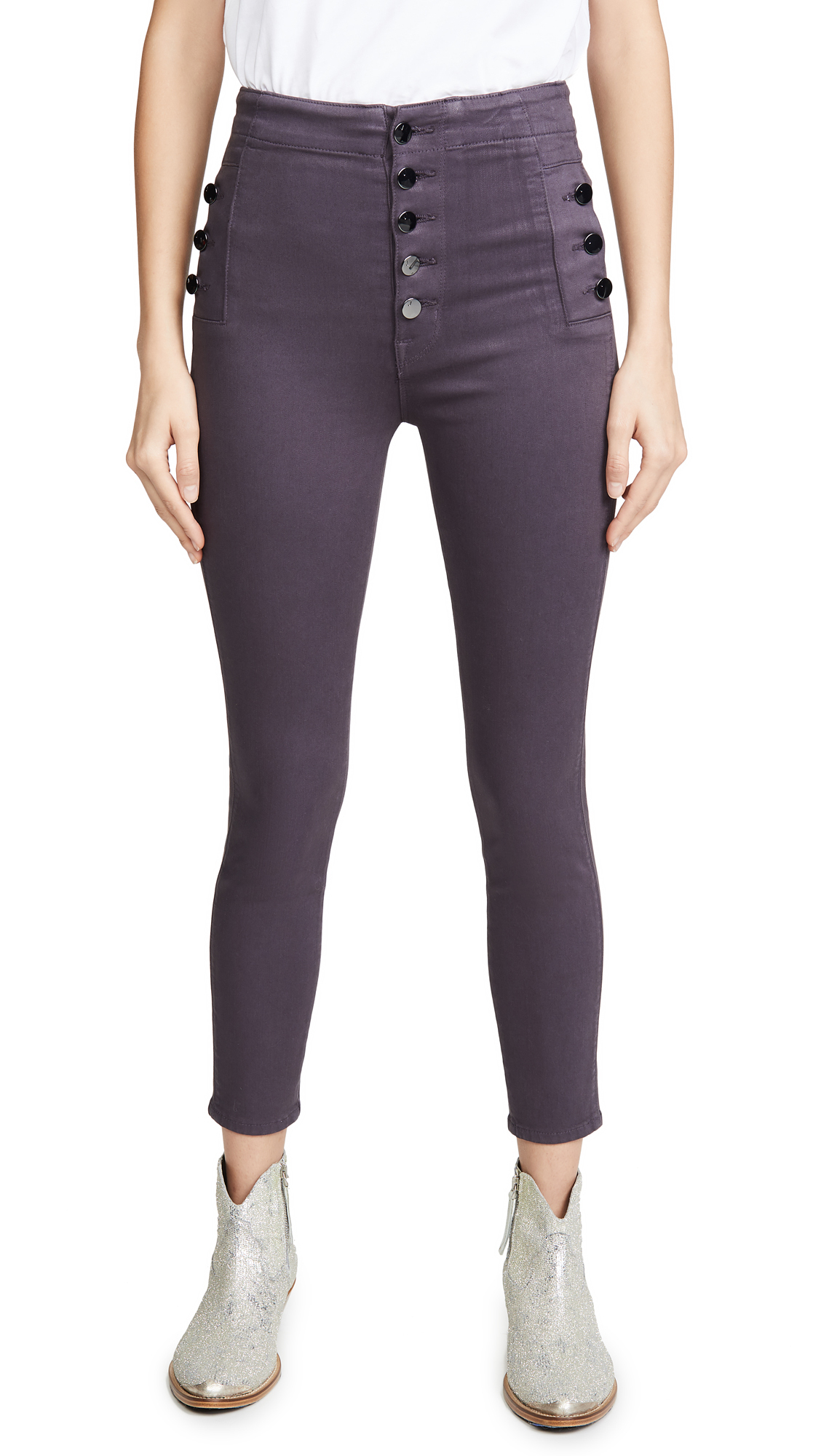 Buy J Brand online - photo of J Brand Natasha Coated Sky High Skinny Jeans