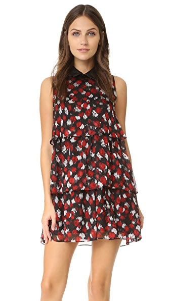 Just Cavalli Scratched Leo Ruffle Dress - Corallo Variant