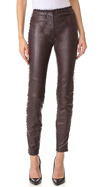 Just Cavalli Кожаные брюки с отделкой шнурками