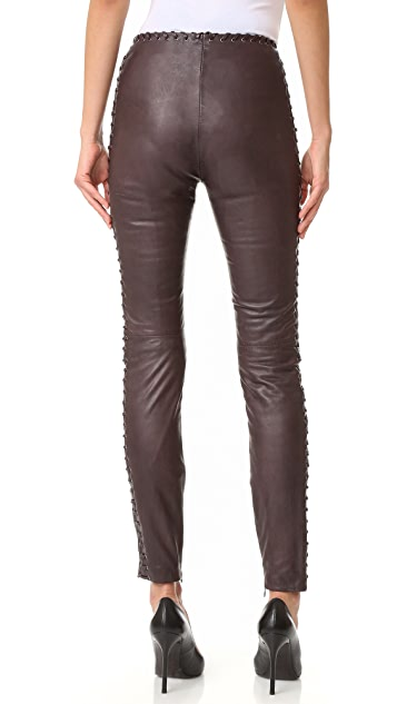Just Cavalli Lace Trim Leather Pants