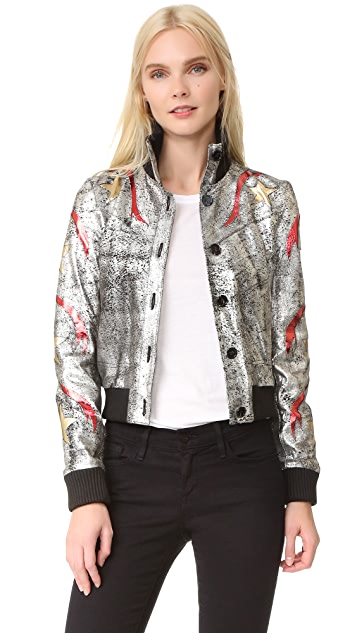 Just Cavalli Star Leather Bomber Jacket
