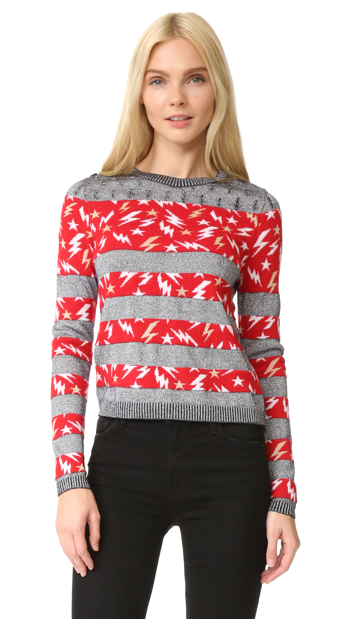Just Cavalli Lightning Stripe Sweater - Blue Navy Jacquard