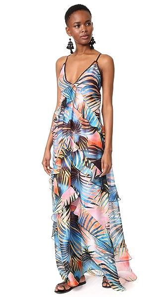 Just Cavalli Palm Maxi Dress In Multicolor Variant