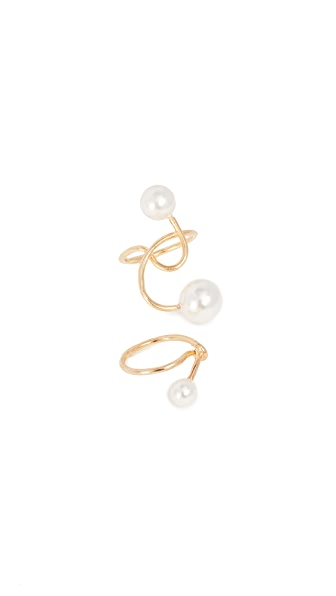 Joanna Laura Constantine Set of Two Imitation Pearl Knot Rings In Gold