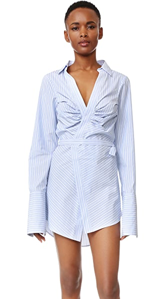 Jacquemus Ruched Wrap Dress - White Sky Blue Striped