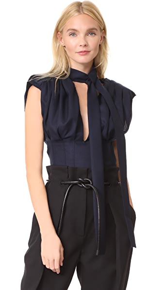 Jacquemus Pleated Top In Navy