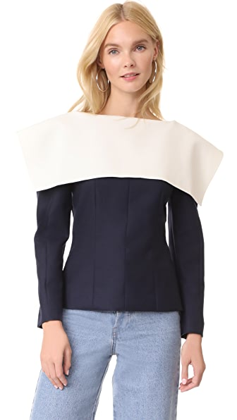 Jacquemus Colorblock Top In Navy/Ecru