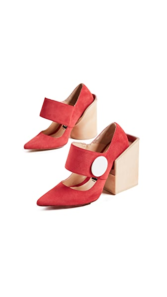 red suede Les Chaussures Gros Bouton 120 pumps