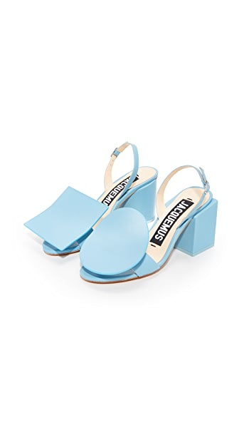 Jacquemus Ronds Carre Sandals In Blue