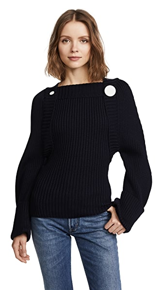 Jacquemus Button Wool Sweater In Navy