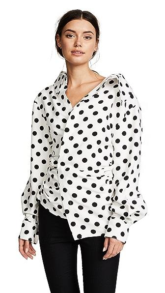 Jacquemus Polka Dot Asymmetrical Blouse at Shopbop