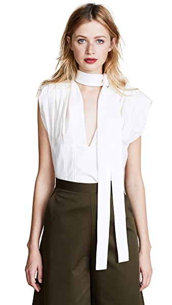 Jacquemus Pleated Sleeveless Blouse In Ecru