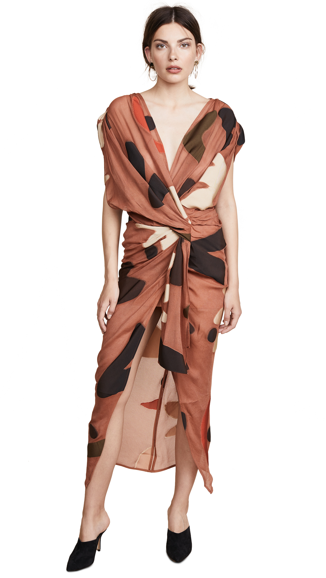 Henri Ruched Gauze Dress, Brown Print/Beige