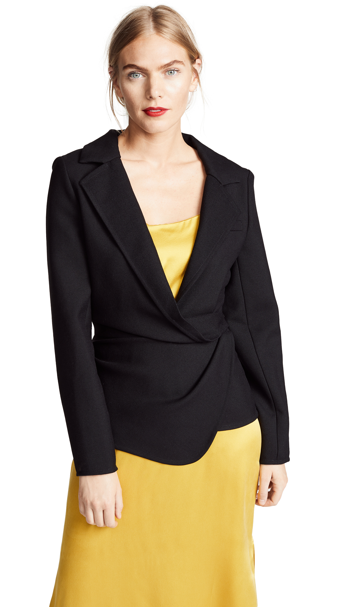 Veste Baija Double-Breasted Drape Wool Jacket in Black