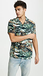 J. Crew Camp Collar Volcano Hawaiian Shirt